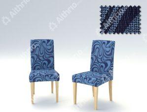 Σετ (2 Τμχ) Ελαστικά Καλύμματα Καρεκλών Με Πλάτη Danubio-Μπλε