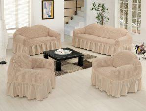 Ελαστικό κάλυμμα καναπέ 70% βαμβάκι 30% λύκρα σετ 3 τεμάχια Αίθριο-Εκρου-6+ Χρώματα Διαθέσιμα-Καλύμματα Σαλονιού-Ίσια πλάτη + Αχιβάδα