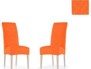 Σετ (2 Τμχ) Ελαστικά Καλύμματα Καρεκλών Με Πλάτη Karen-Πορτοκαλί